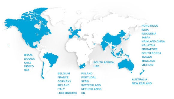 Map with countries Robert Walter offices are in